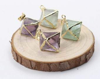 Diamond Fluorite Pendants -- With Electroplated Gold Edge Charms Wholesale Supplies YHA-103