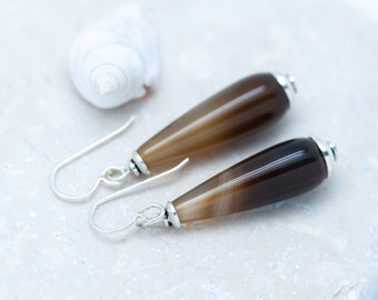 Brown Drop Earrings, Brown Agate Earrings, Long Slender Earrings, Natural Stone Earrings, Ombre Earrings, Sterling Silver, Banded Agate