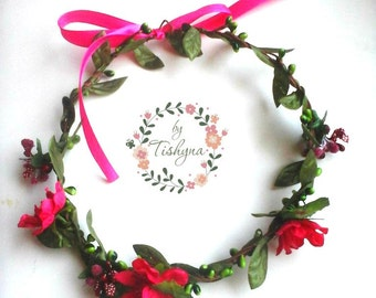 Valintine's day Boho wedding pink flower crown bride Large floral wreath headband headpiece woodland Flower girl bridesmaide bridal ivory