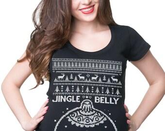 Ugly Christmas Sweater T-Shirt Funny Christmas Maternity Tee Shirt Xmas Party Photo Shoot T-Shirt