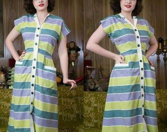 """1940s Striped Dress   40s Dress   1940s Dress   Striped Dress   Chartreuse   40s Shirt Dress   40s Cotton Dress   Striped Shirt Dress   26"""""""