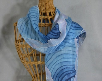 """Silk Scarf (Small) """"Pale Blue Ice Cave"""", Hand Painted Silk Scarf, Blue Scarf"""