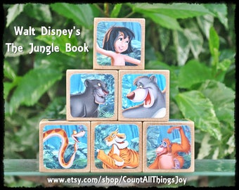 Personalized  JUNGLE BOOK by Walt Disney, Storybook Wooden Blocks, for Nursery Decor, Birthday, Gift for Boys, Girls, Large Medium Small