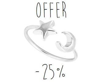 DREAM SEEKER - Silver & Gold Plated Crescent Moon and Star Ring // Bohemian Jewelry // Dainty Silver Plated Ring // Gypsy Jewelry //