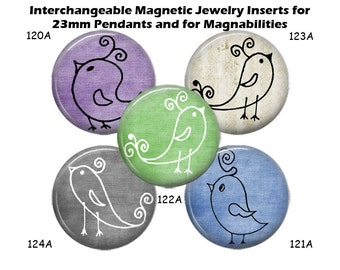 "Magnetic Inserts for Magnabilities Jewelry Interchangeable Magnet Bird Inserts for 23mm Pendant 1"" Magnability Inserts, Changeable Magnets"