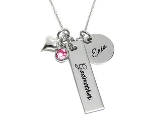 Godmother Necklace- Personalized Neccklace- Christening Gift - Baptism Gift- Wedding Gift -Fairy Godmother- Godmother Jewelry
