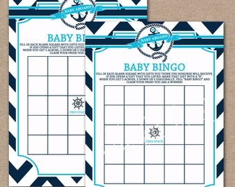 INSTANT DOWNLOAD, Nautical Baby Shower Bingo Game, Printable Shower Games, Baby Shower Games, Blue, Nautical, Bingo game,  Blue, #0011