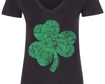 Distressed Green Shamrock Women's V-Neck Fitted T-Shirt Irish St. Patrick's Day Pride - TA_00146