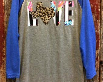 Texas Love Baseball Tee - Texas shirt - Texas Raglan - State shirt