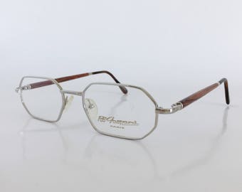 Pol Gaspard Vintage Eyewear, Model C 66 09 02, Silver & brown bamboo wood glasses, Hexagon Eyeglasses, Vintage dead stock eyeglasses