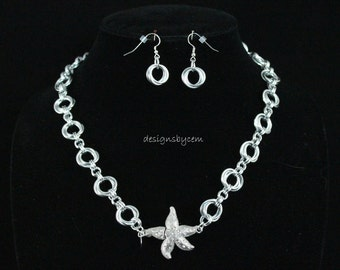Starfish and chainmaille necklace and earring set