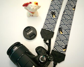 Padded camera strap, SLR, DSLR, blue wave pattern cotton with Lucky Cats Maneki Neko. Japan Kawaii style camera strap.