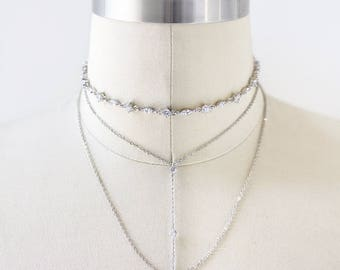 Silver Layering Necklaces, Silver Bridal Jewelry Set, Silver Choker and Lariat Necklace Set, Silver Choker Necklace Set, Silver Choker N071S