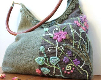 Bag Sagebrush, Textile bag, Felt bag, Shoulder bag