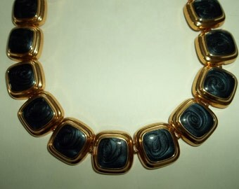 Vintage Blue Gold Choker Enamel Statement Necklace 80's