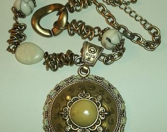 Chunky Ethnic, Boho, Rhinestone, Enamel Medallion Statement Necklace