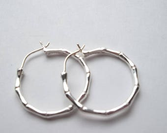 "Vintage Sterling Silver bamboo  1"" Hoops           * CC"