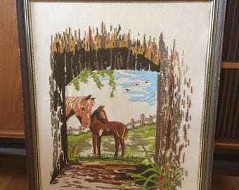 Vintage 1970s Horse Pony Crewel Embroidery Stitched Wall Art Picture!