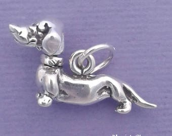 DACHSHUND Charm .925 Sterling Silver, Doxie, Weenie, Movable Dog Pendant - sc266