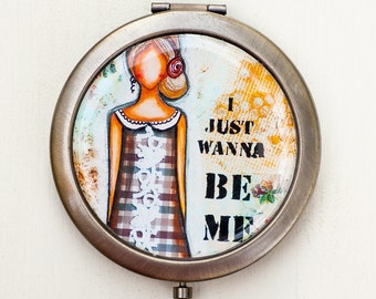 Compact Mirror - Purse Mirror - Inspirational Gifts - Whimsical Art - Self Love - Gift for Women - Best Friend Gifts - Travel Gift for Women