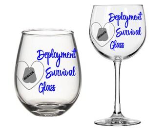 Deployment Survival Wine Glass