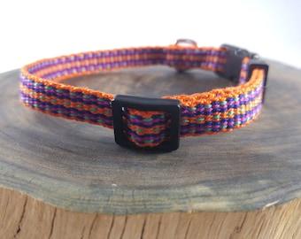Breakaway Cat Collar - Handwoven; Safety buckle; Adjustable - orange, purple, blue, teal