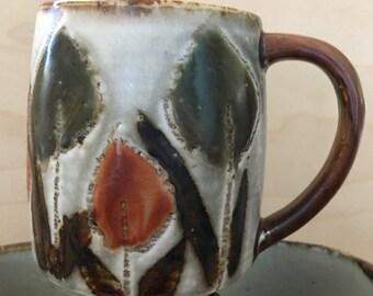 Japanese stoneware mugs vintage 1960s flowers sold individually