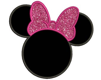 Minnie Mouse Applique Design 9 size Disney Design Mickey Mouse Embroidery Design Machine Embroidery Design Instant Download 8 Formats
