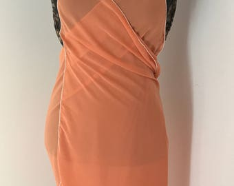 Orange silk and pareo dress. One size fits all