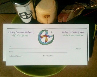 Gift Certificate for Living Creative Wellness and Wellness-Gallery.com