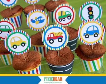 Transportation Cupcake Toppers - Transportation Party - Transportation Birthday - Transportation Decor - Train Birthday (Instant Download)