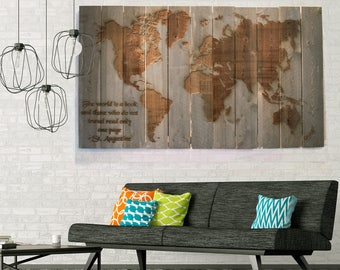 Large Reclaimed Wood Wall Art with World Map, Engraved, Handmade, World Map Art,