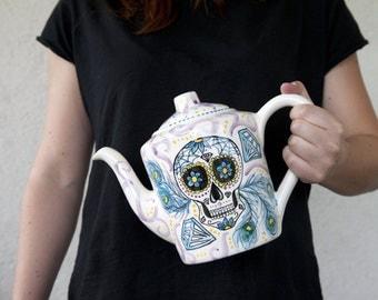 mexican sugar skull teapot ceramic, calavera turquoise