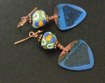 Enamel Earrings - Krobo Glass Earrings - Handmade Earrings - Lightweight - Bohemian Style - Boho Style - Tribal Style - Gift Ideas - For Her