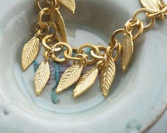 Chunky gold chain link bracelet, Grecian goddess jewelry, Gold leaf bracelet