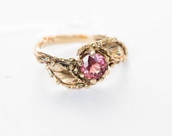 Malaya garnet gold leaf engagement ring, 14k gold twig engagement ring, nature engagement ring