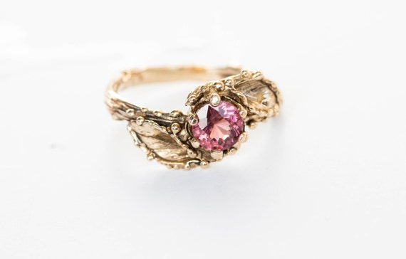 Malaya garnet gold leaf engagement ring, 14k gold twig engagement ring, nature engagement ring