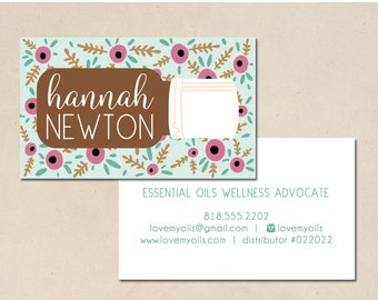 printable - essential oil cards - business cards - hand illustrated - calling cards - DIY- small business - EO - essential oil calling cards