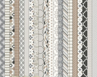 """Digital Printable Scrapbook Craft Paper - January Frost - Neutral Winter Christmas Snow Grey Brown Silver - 12 x 12"""" - PU/CU Commercial Use"""