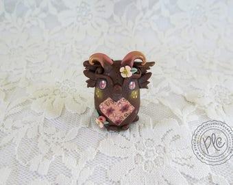 Polymer Clay Adorable Miniature Dragon / Cute Creature Figurine Collectible / Miniature Brown Dragon Totem Sculpture