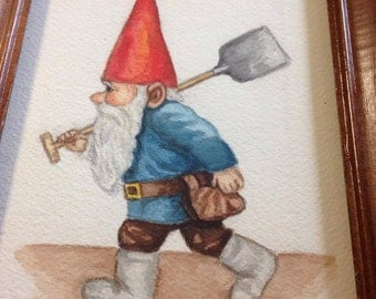 Gnome Painting, Vintage Gnome, Gnome Art, Gnome Home Decor, Gnome