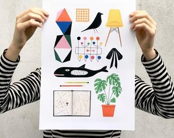A3 Charles & Ray Eames Art Print | mid century modern | modernist | 1950s | classic design | illustration |gift | homeware | house | decor