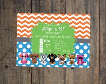 Beanie Boo Birthday Invitation - Boy Birthday Party, Adopt-a-Pet Party - digital file