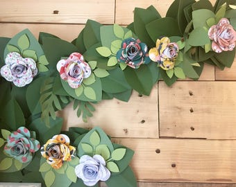 Floral Paper Flowers - Set of 4