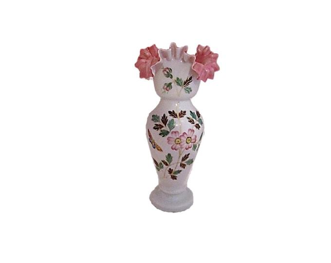 Antique Bristol Glass Vase 1800s Victorian English Glass | Hand Blown Ruffled Milk Glass Victorian Art Glass Vase