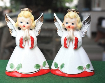 REDUCED Vintage Norcrest Christmas Angel Candle Holders Japan Mid Century Figurines Decorations Collectibles