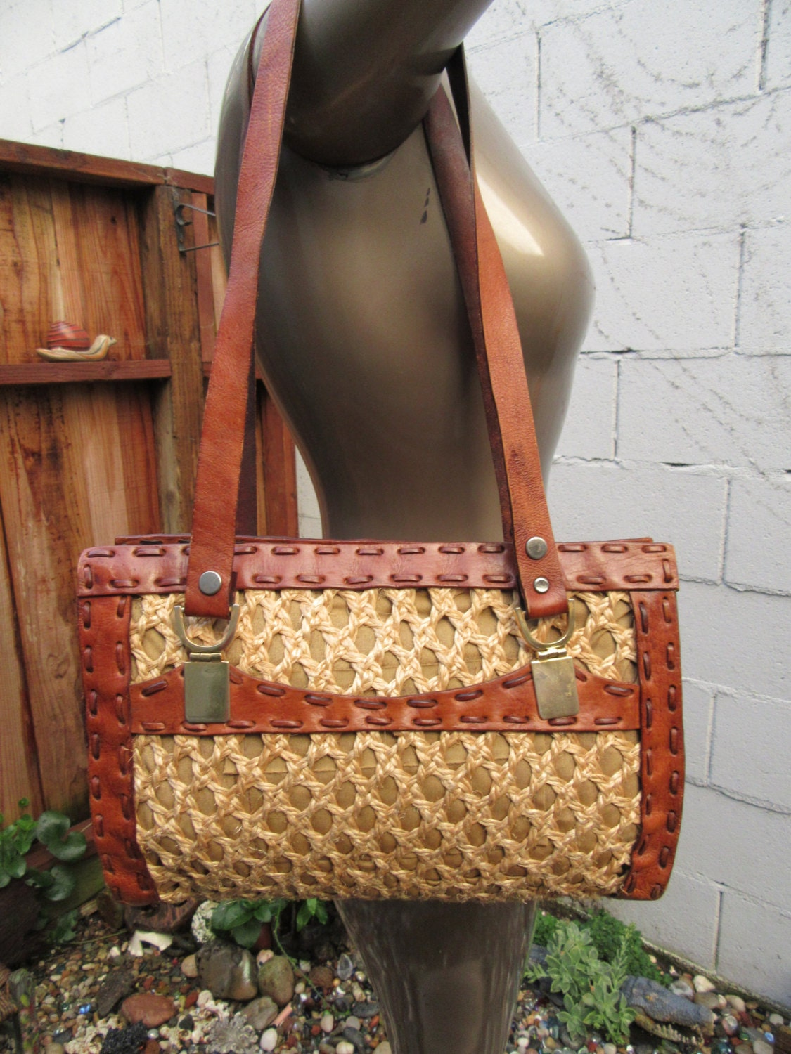 Basket Weaving With Raffia : Wicker leather tote handbag satchel raffia straw basket weave