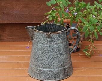 Large Graniteware Coffee Pot. Vintage Enamelware Kettle, Kettle Planter, Rusty Enamel Kettle