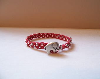 Red Elephant Beaded Macrame Bracelet, Hemp Bracelet, Hemp Jewelry, Macrame Jewelry, Macrame Bracelet, Elephant Bracelet, Elephant Jewelry