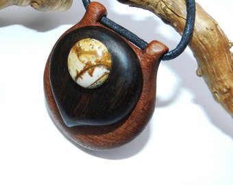 Wooden Pendant, Hand Carved Wood Pendant, wooden necklace.